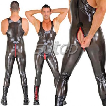 Men's latex catsuit in trasparent black sleeveness with cod piece