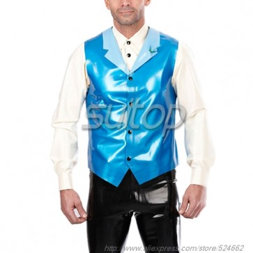 Suitop men's rubber latex waistcoat with front zippers in metallic blue color