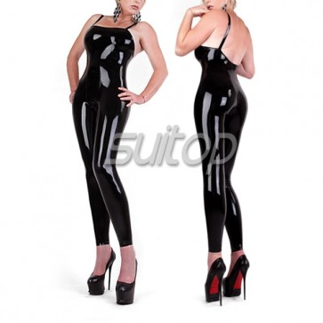 Suitop sleeveless latex black catsuit sexy rubber latex tights for women NO ZIP