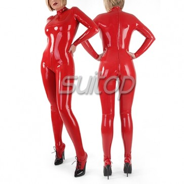 Suitop Fast Shipping latex catsuit with sock for women IN RED