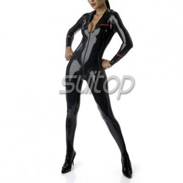Suitop uniform style rubber latex catsuit with socks and belt