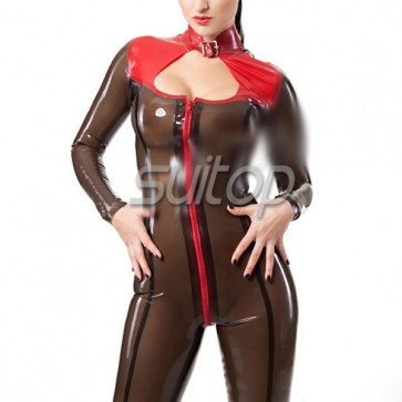 Suitop sexy exotic  transparent black and red trim latex catsuit hand made