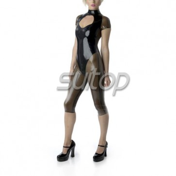 sexy latex Exotic Apparel short catsuit rubber bod suit teddies for femail in black and trasparent black  SUITOP summer