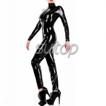 100% handmade nature catsuit with front zip to ass with high collar
