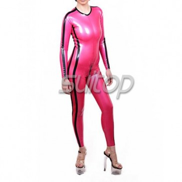 Female 's latex catsuit with back zip in Metallic pink red