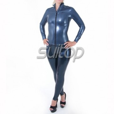Female 's latex catsuit in Metallic blue with front zip in 0.4mm thickness