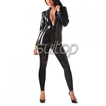 Female 's Classic latex catsuit black rubber bodysuit with front zip in black