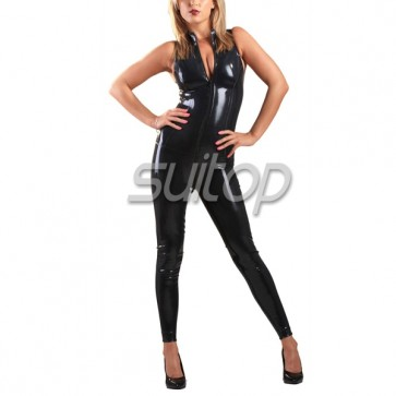 Female 's latex catsuit black rubber bodysuit with front zip in black sleeveness 3d cutting