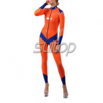 Female 's latex catsuit with feet in orange and blue  tirm