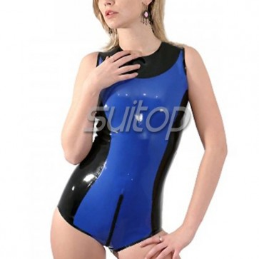 Female 's latex leotard in blue and black  tirm