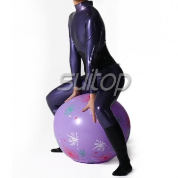 Women's latex catsuit with socks in Metallic purple back zip