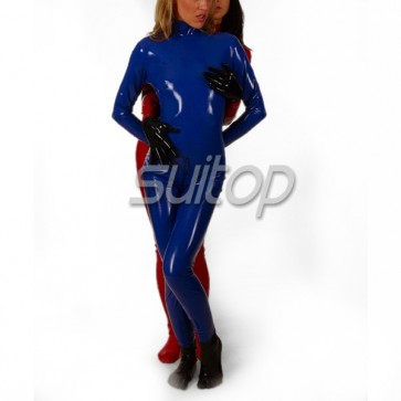 women's latex catsuit wtih front zip in blue with gloves and toe socks separated