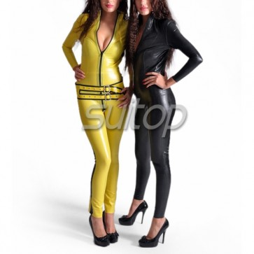 Sexy women's latex catsuit with belt yellow and black trim
