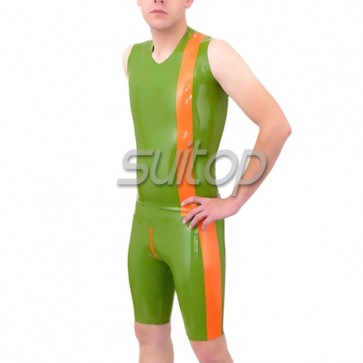 Men's latex leotard in green and orange trim with crotch  zip sleeveness neck entry