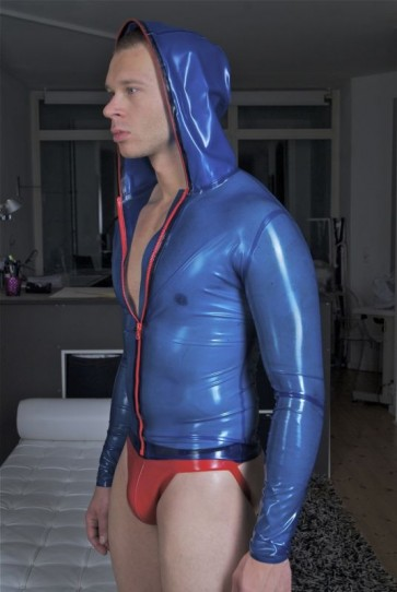 Suitop new arrival men's rubber latex tight coat with cap in transparent blue color