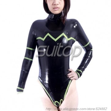100% natural rubber latex body & leotard in black color for lady