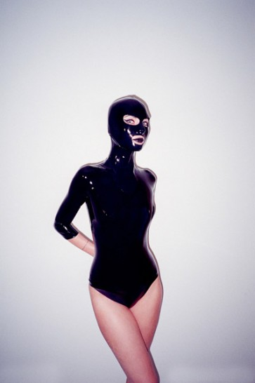 Sexy pure handmade rubber latex body & leotard with head in black color for lady