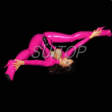Shiny rubber latex classical catsuit with feet including belt in pink red color for women