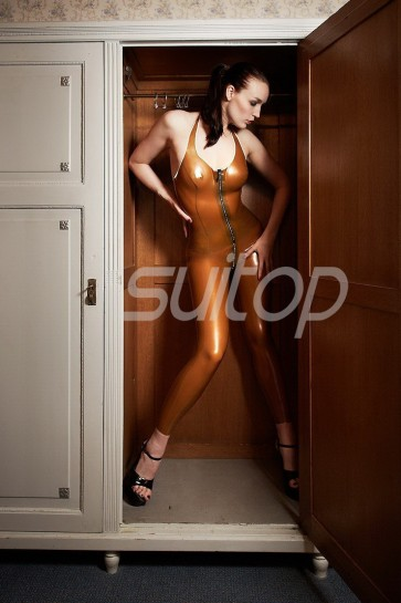 New arrival women's rubber latex classical catsuit attached front zipper in metallic bronze color
