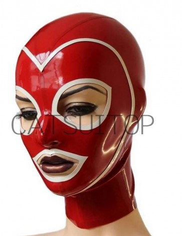 CATSUITOP latex hood masks in red and white trim
