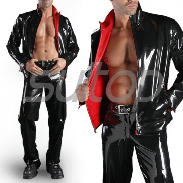Suitop high quality men's rubber latex two side casual coat with front zipper in black color