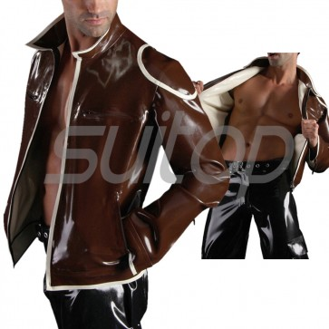 Suitop high quality men's rubber latex two side casual coat with front zipper in dark brown color