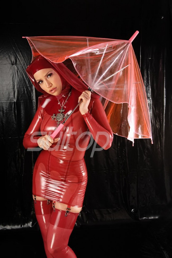 Latex Nun Uniform Cosplay Costume Dress In Red Rubber