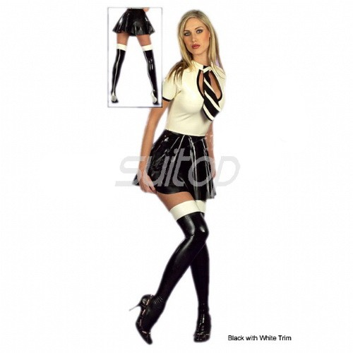 Suitop Lovely Rubber Latex School Girl Uniform Dress