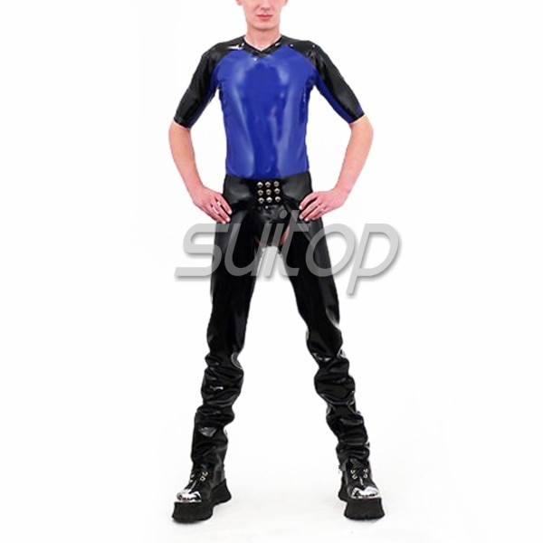 Mens Latex Trousers Rubber Jeans Fetish Trousers In Black Tight Pants Open Crotch Not Including Briefs