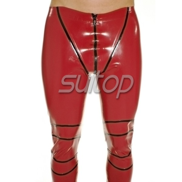 5f412b2c80e736 Rubber latex legging sexy pants with whole crotch zip in red and black trim  for men