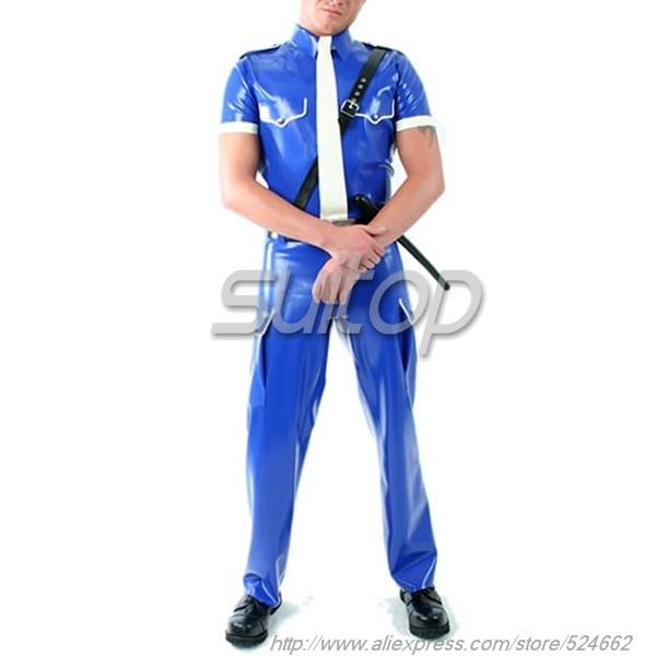 Men Police Blue Latex Uniforms Costumes Military Set Not
