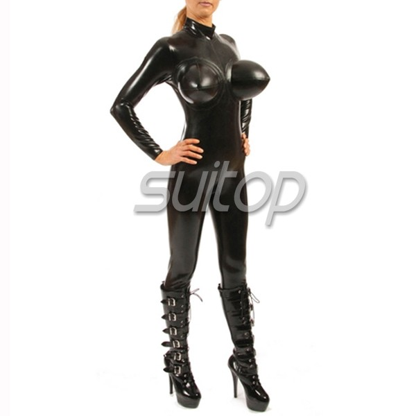 Sexy Women S Latex Catsuit Rubber Inflatable Bust With