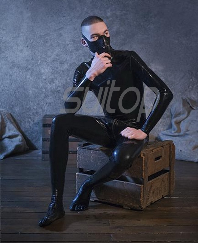 9cb0b6de7bf Suitop men's rubber latex classical catsuit with toe socks attached back  zipper to lower abdomen in black color