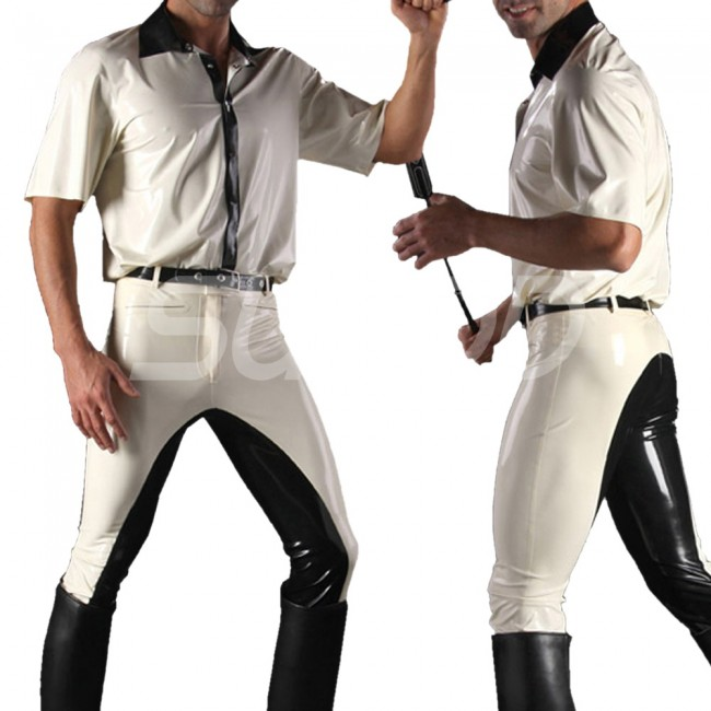 Suitop Casual Mens Males Rubber Trousers Latex Pants In White With Black Trim Color