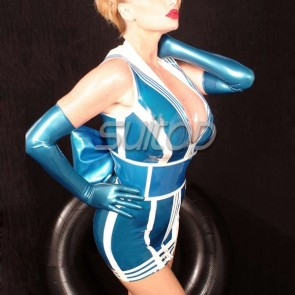 Rubber navy latex student uniform in blue color exclude gloves for female