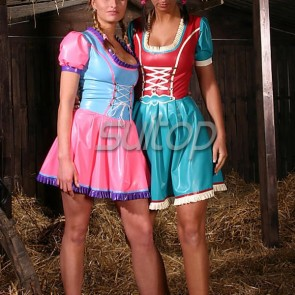 Lovely rubber latex dress with lace up in pink color for schoolgirl