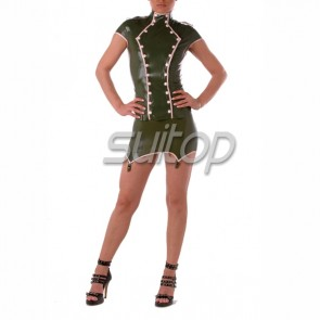 latex military&Police cosplay uniform including top and braces skirtsuspender skirt in army green