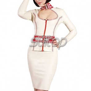Rubber latex whole tight dress set includes tops and skirt in white color for women