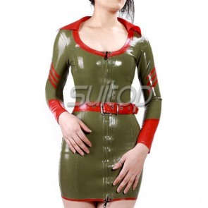 Women's rubber military latex uniform dress in army green with belt for adult cosplay
