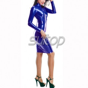 rubber latex dresses in dark blue  hand made wtih back zip to waist