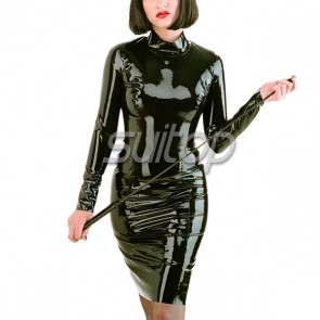 Rubber latex long sleeves dresses in black color with back zip teacher uniforms