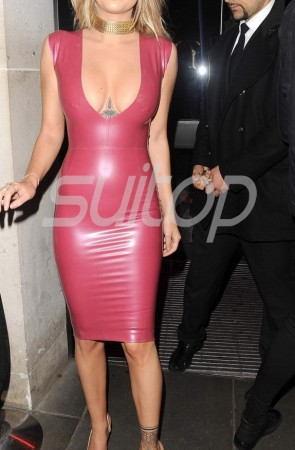 Sexy & simple party rubber latex low-cut dress in red color for lady