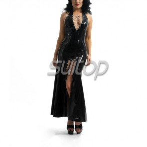 Sexy rubber latex halter slit long dress in black color for women