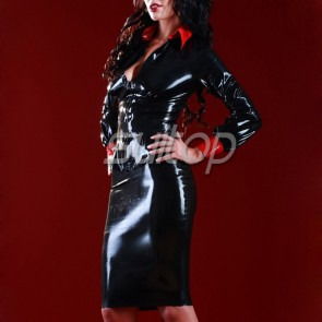 Sexy rubber latex skirt set includes blouse and tight lace up skirt in black color for female