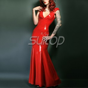 Sexy evening rubber latex low cut  long tight dress in red color for female