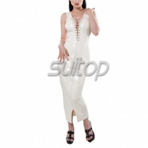 Sexy evening rubber latex lace up should-straps long dress with front zipper in white color for female
