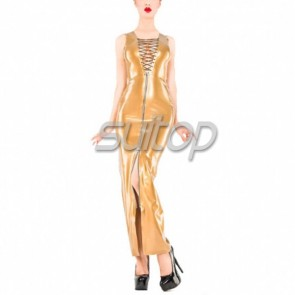 Sexy evening rubber latex lace up should-straps long dress with front zipper in metallic gold color for female