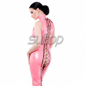 Sexy evening rubber latex high neck long dress with back lace up in metallic pink color for women