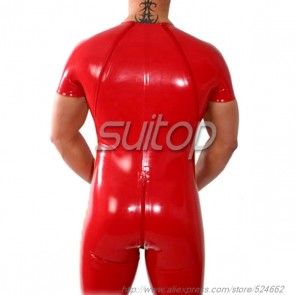 Pure handmade rubber latex short sleeve leotard bodysuit in red color for men
