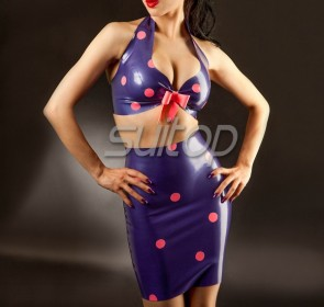 Suitop sexy women's rubber latex halter bras and tight short skirt main in dark blue color